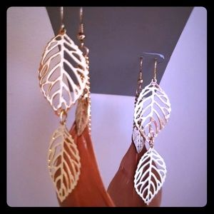 NEW, 4Earrings (2Feather, 2Leaf Dangling Earrings)
